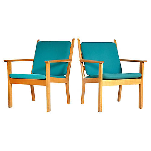 Hans J. Wegner Oak Lounge Chairs, Pair