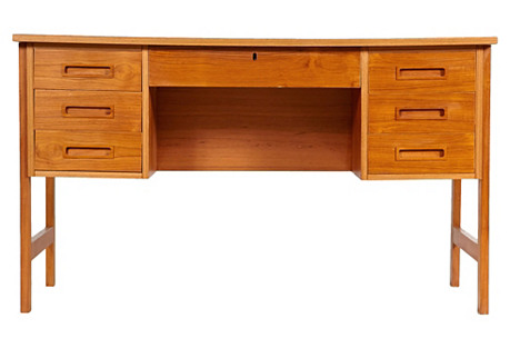 1970s Danish Teak Executive-Style Desk