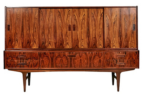 1960s Danish Rosewood Tall Credenza