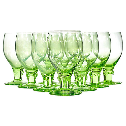 1950s Light Green Wineglasses, S/10
