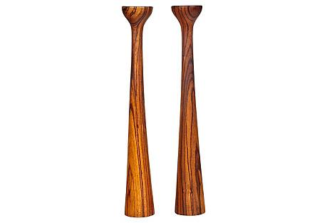 Danish Zebra Wood Tall Candleholders, Pr
