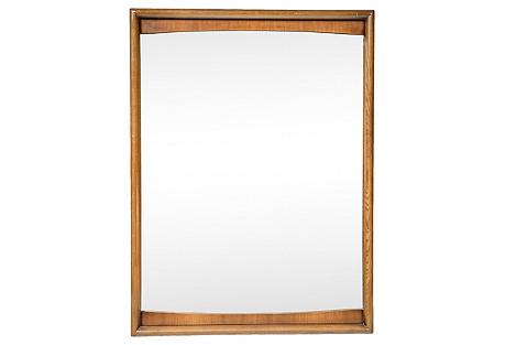 1960s Wood Framed Wall Mirror