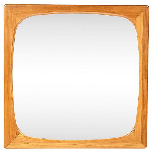 1970s Danish-Style Teak Wall Mirror