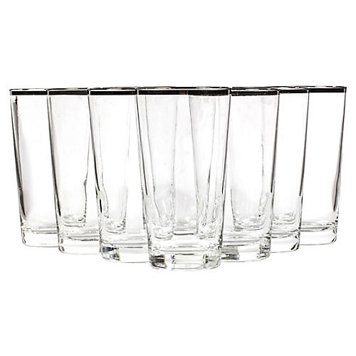 1960s French Silver-Rim Tumblers, S/8
