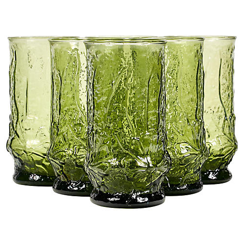 Green Floral Textured Glass Tumblers,S/6