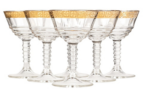 Art Deco Gilt Rim Liquor Stems, S/6