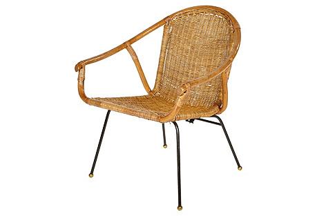 1960s Rattan & Iron Base Chair