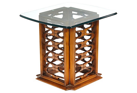 1960s Reticulated Wood Side Table