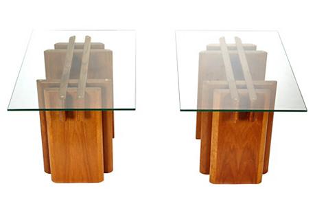 1970s Teak & Glass Top Side Tables, Pair