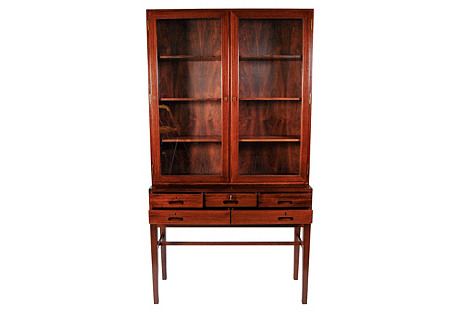 Danish Rosewood Glass Front Cabinet