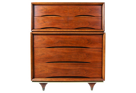 1960s Kent Coffey Tall Walnut Dresser