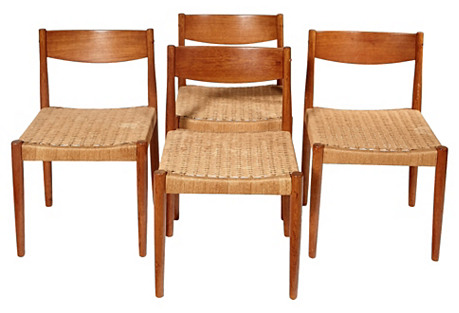 1960s Danish Teak/Papercord Chairs, S/4