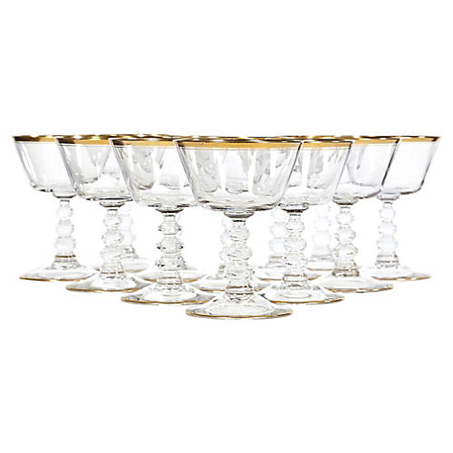 Art Deco Gilt-Banded Glass Coupes, S/12