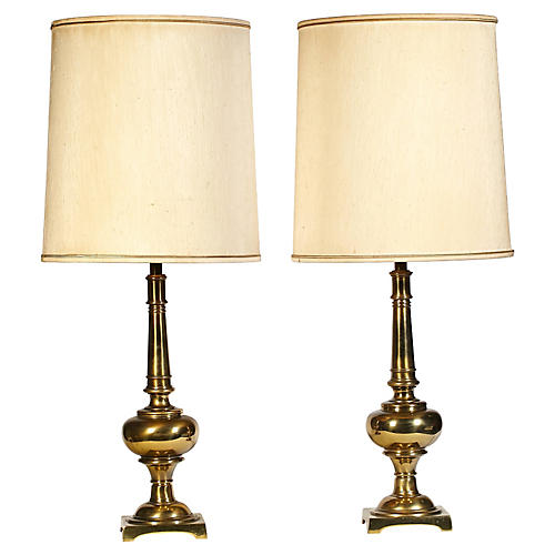 1960s Stiffel Brass Table Lamps, Pair