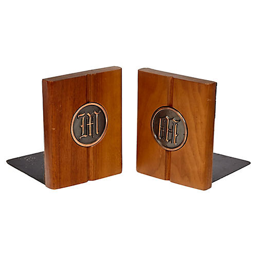 1960s Walnut Monogrammed Bookends, Pair
