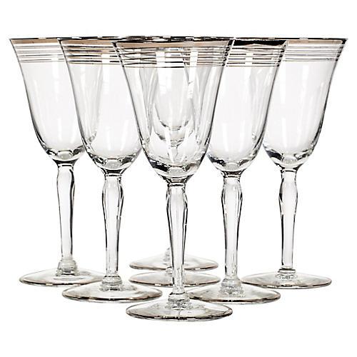 Art Deco Silver Ring Wine Stems, S/7