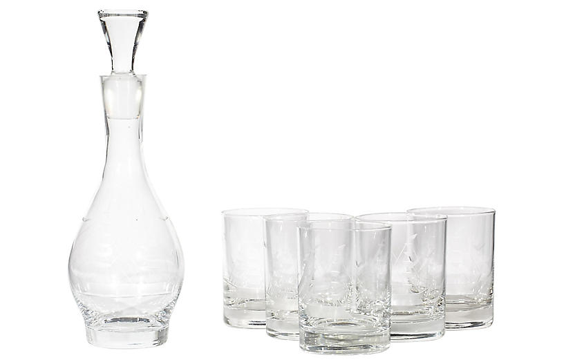 1960s Ship Etched Decanter Set, 6 Pcs