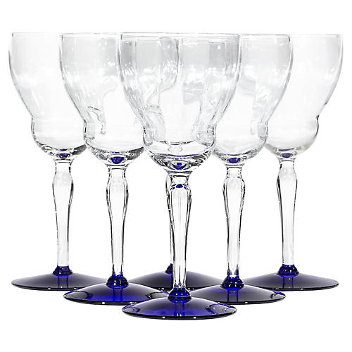 Art Deco Cobalt Base Wine Stems, S/6