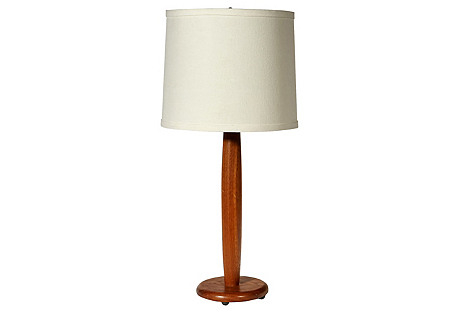 1970s Teak Wood Table Lamp