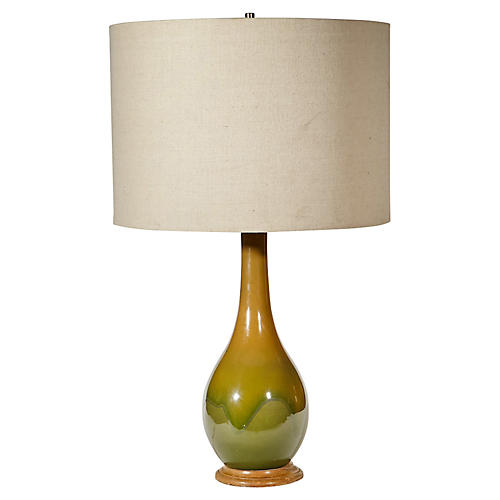 1960s Green Ceramic Table Lamp
