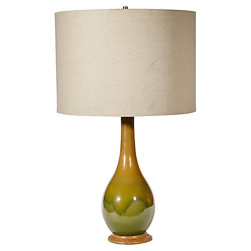 1960s Green Ceramic Table Lamp