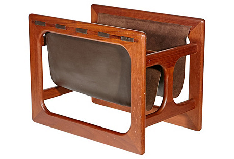 1960s Teak & Leather Magazine Holder