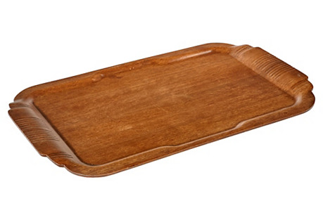 1950s Large Handled Wood Serving Tray