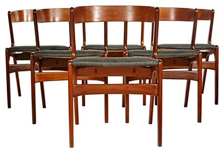 1960s Danish Teak Dining Room Chairs,S/6