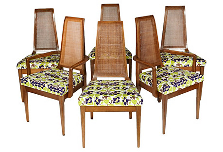 1960s Caned-Back Dining Room Chairs, S/6
