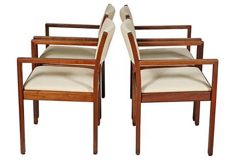 Gunlocke Walnut Office Armchairs, S/4