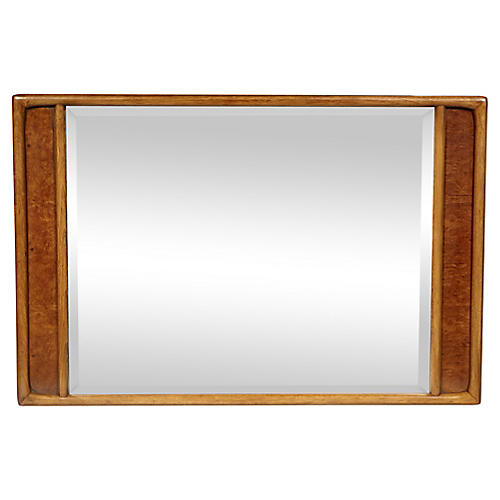 1960s Burl Wood & Pecan Wall Mirror