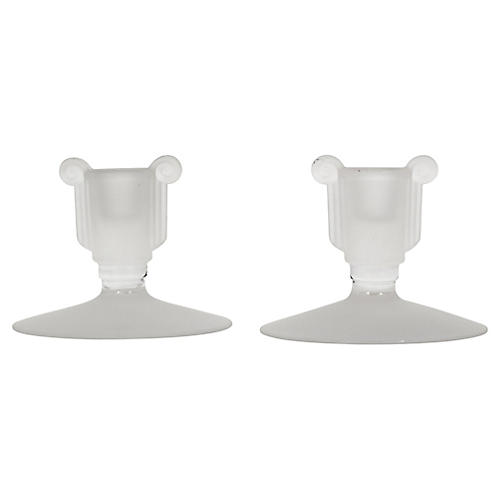 Art Deco Frosted Candleholders, Pair