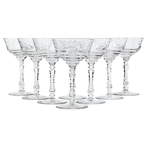 Art Deco Floral Cut Glass Coupes, S/8