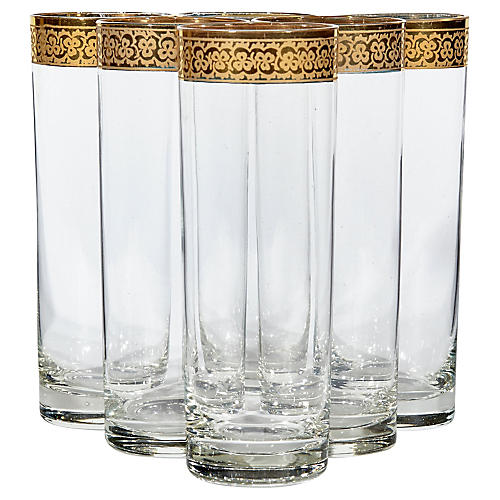 1960s Floral Tall Glass Tumblers, S/6