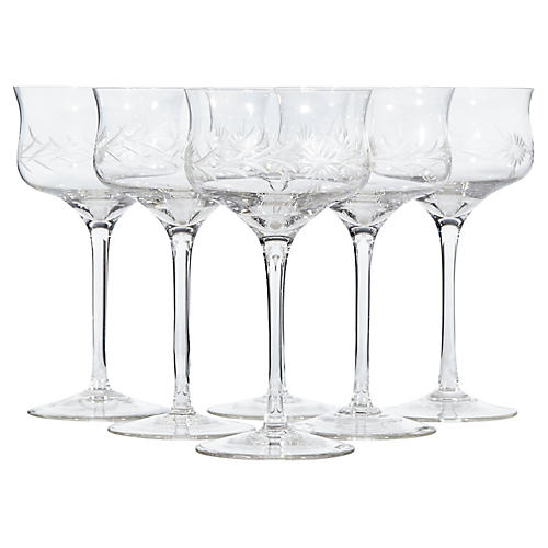1950s Floral Etched Glass Coupes, S/6