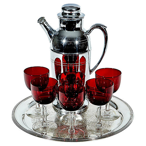 Art Deco Cocktail Shaker Set, 8 Pcs
