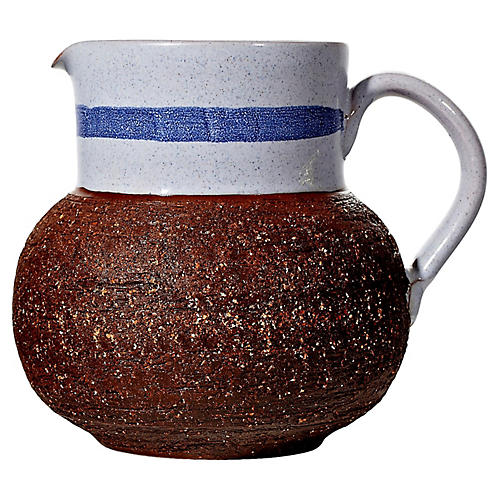 1960s Swedish Textured Ceramic Pitcher