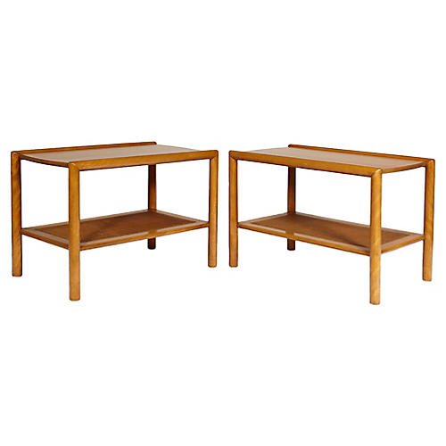 1950s Conant Ball Caned Side Tables, Pr
