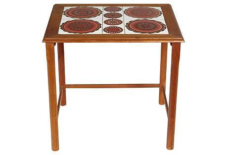 1970s Danish Tile Top Side Table