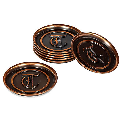 1960s Copper Monogrammed Coasters, S/7