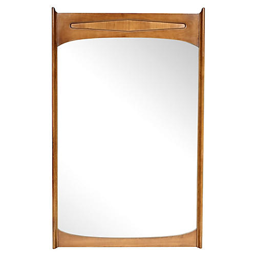 1960s Pecan Wood Wall Mirror