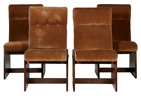 Lane Brutalist-Style Dining Chairs, S/4