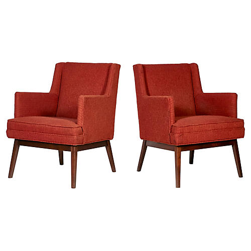 1950s Jens Risom-Style Lounge Chairs, Pr