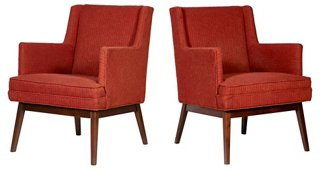 1950s Jens Risom Style Lounge Chairs, Pr   Arm Chairs   Dining Chairs    Dining Room   Furniture | One Kings Lane