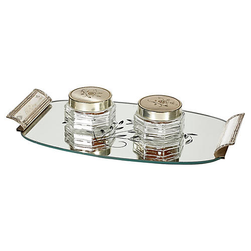 Art Deco Mirror Vanity Tray & Jars, S/3