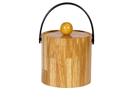 1960s Woodgrain Ice Bucket