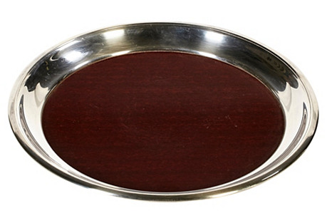 1960s Round Laminate Serving Tray