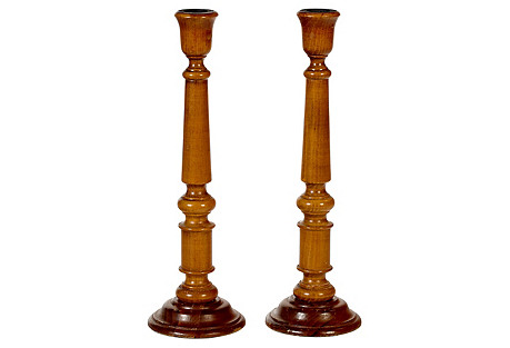 1950s Wood Tall Candleholders, Pair