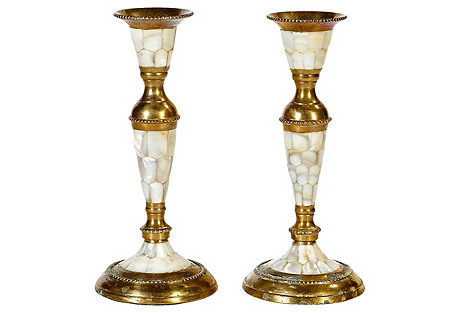 Abalone & Brass Candleholders, Pair
