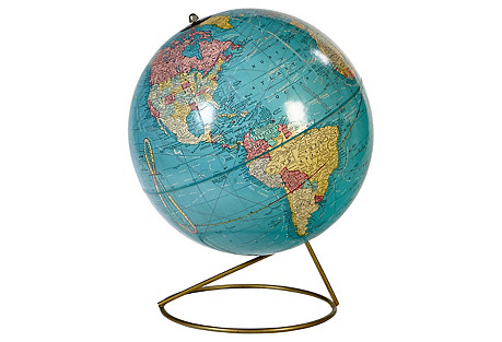 1950s World Globe on Metal Stand